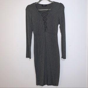 Lulu's 4SI3NNA Sexy comfy lace up gray dress